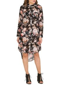Izabel London Floral Chiffon Shirt Dress