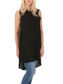 Izabel London Sleeveless Shirt With Side Splits
