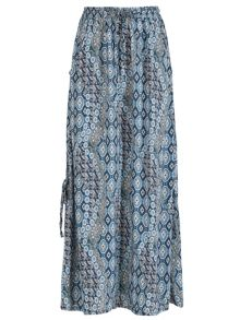 Izabel London Multi Blue Print Maxi Skirt