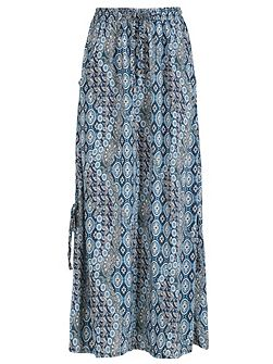 Multi Blue Print Maxi Skirt