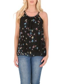 Izabel London Hummingbird Print Embellished Top