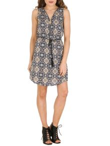 Izabel London Shift Dress With Oversized Zip Detail