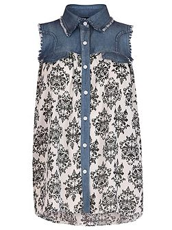 Baroque Contrast Denim Top