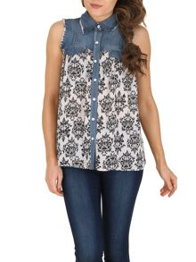 Izabel London Baroque Contrast Denim Top