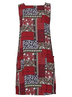 Patchwork Print Shift Dress