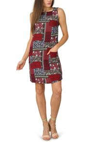Izabel London Patchwork Print Shift Dress