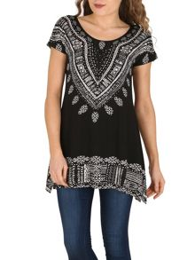 Izabel London Embellished Aztec Print Top