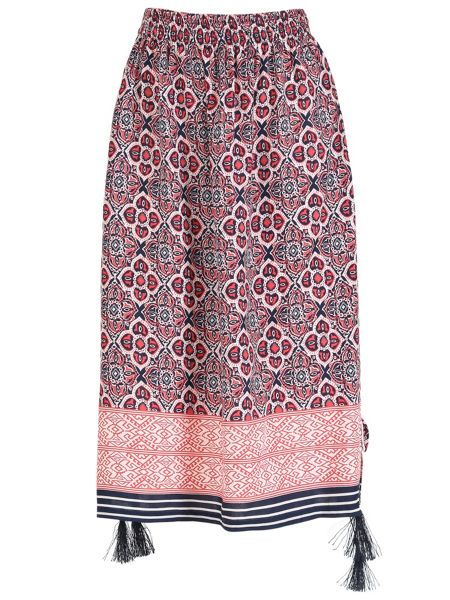 Izabel London Multi Print Midi Skirt With Split Detail