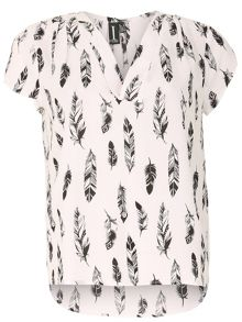 Izabel London Monochrome Feather Print Crepe Top