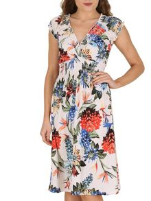 Izabel London Gypsy Dress With Bold Floral Print