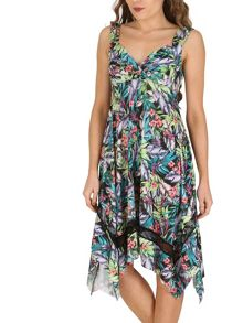 Izabel London Tropical Print Empire Line Dress