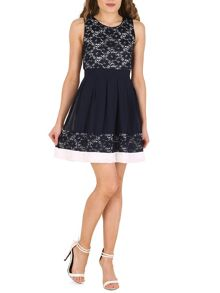 Izabel London Lace and Chiffon Two in One Skater Dress