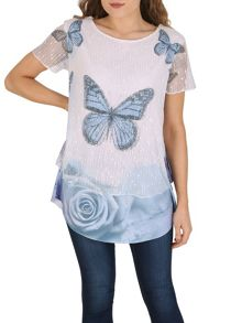 Izabel London Butterfly Contrast Hem Top
