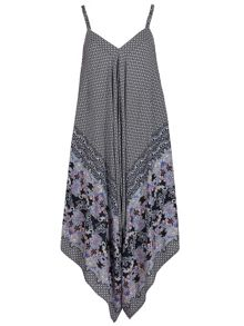 Izabel London Diamond Printed Scarf Hem Jumpsuit