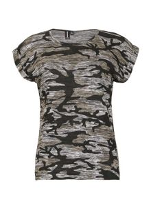 Izabel London Camouflage Print Marl Knit T-Shirt