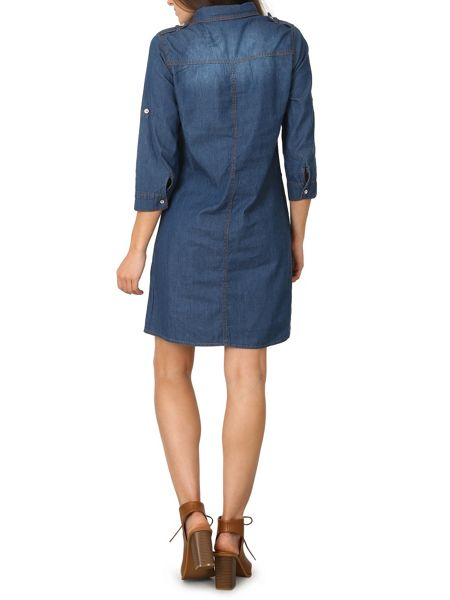 Izabel London Straight Cut Denim Shirt Dress