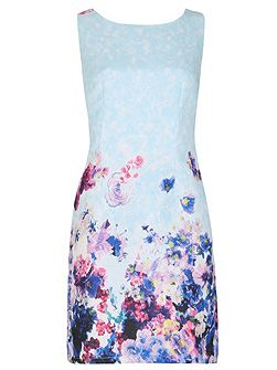 Floral Print Fitted Brocade Midi Dress