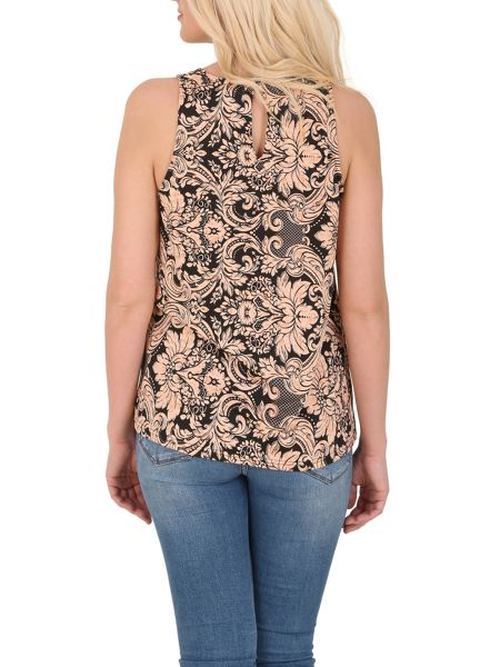 Izabel London Abstract Floral Print Top