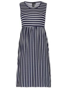 Izabel London Nautical Midi Dress With Tulip Skirt