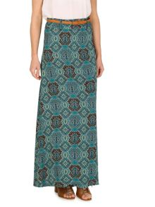 Izabel London Scarf Print Maxi Skirt With Braided Belt