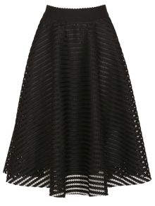 Izabel London Mesh Stripe Midi Skirt