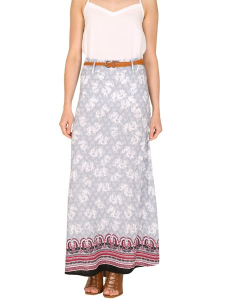 Izabel London Elephant Print Contrast Hem Maxi Skirt