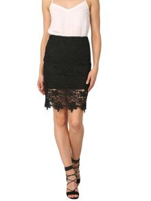 Izabel London Floral Crochet Straight Cut Skirt