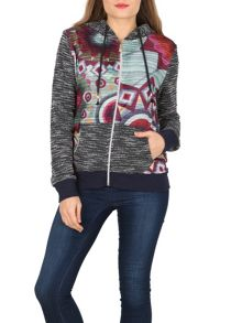Izabel London Contrast Print Zip Hoodie
