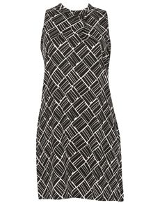 Izabel London Asymmetric Geometric Print Dress
