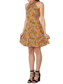 Izabel London Pleated Collar Skater Dress