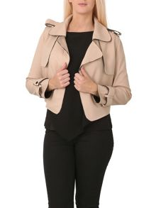 Izabel London Crop Jacket With Wide Collar
