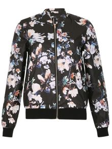 Izabel London Floral Print Bomber Jacket