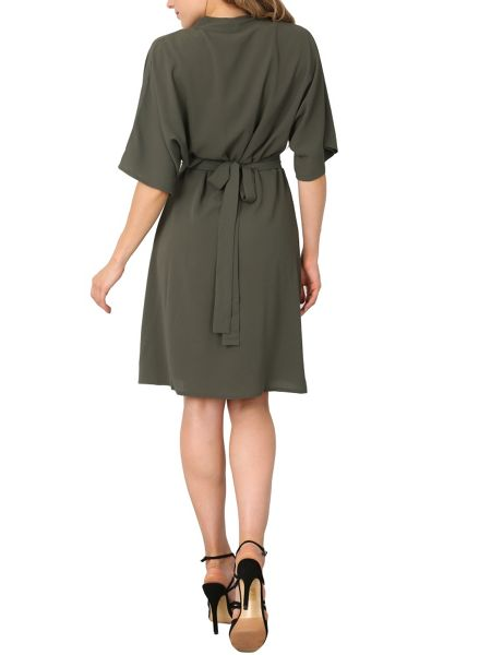 Izabel London Draped V-neck Midi Dress
