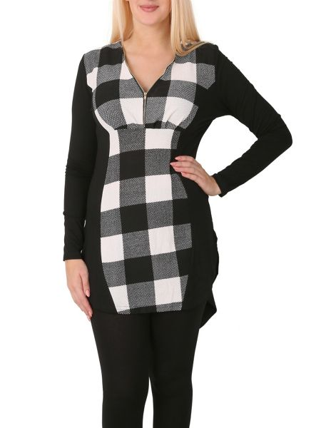 Izabel London Contrast Checked Tunic Top