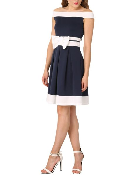 Izabel London Nautical Off The Shoulder Dress With Bow