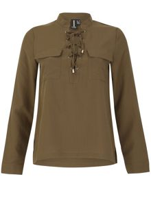 Izabel London Lace-Up Shirt With Pockets