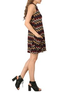 Izabel London Knitted Swing Dress with Chevron Print