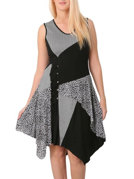 Izabel London Contrast Patch Asymmetric Dress