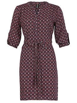 Belted Geometric Shirt Dress