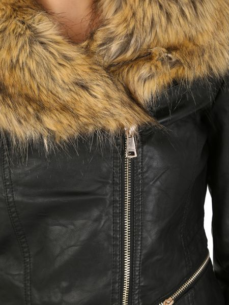 Izabel London Faux Fur Collar Biker Jacket