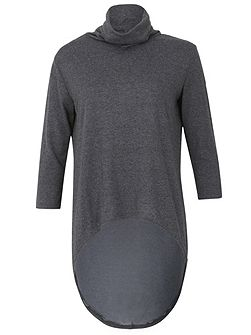 Roll Neck Top With High Low Hem