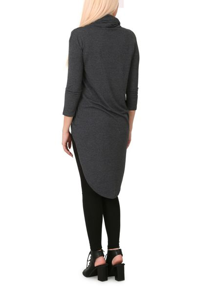 Izabel London Roll Neck Top With High Low Hem
