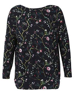 Floral Swallow Print Top