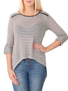 Izabel London Striped Zip Detail Top