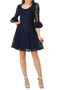Izabel London Floral Lace Fit And Flare Dress