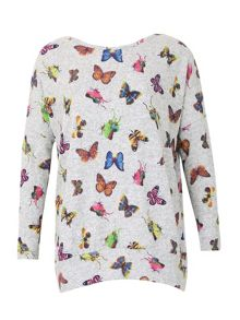 Izabel London Knitted Butterfly Print Top