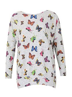 Knitted Butterfly Print Top