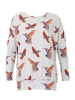 Knitted Bird Print Top
