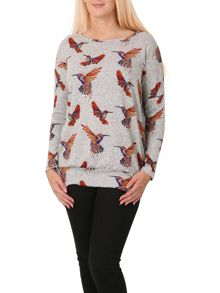 Izabel London Knitted Bird Print Top
