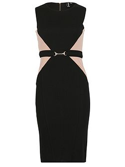 Contrast Panel Shift Dress With Belt